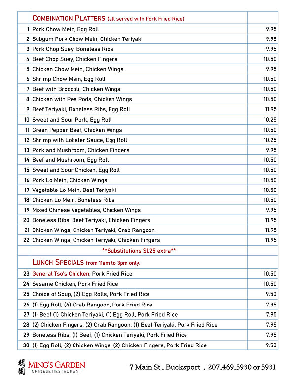 Combinations Lunch Specials updated 1118