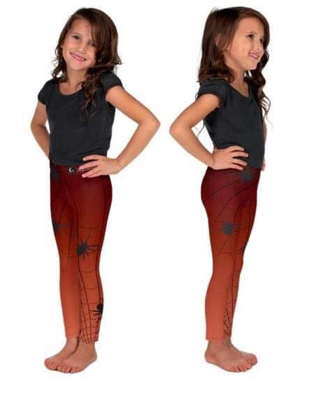 Kids Halloween Orange Leggings