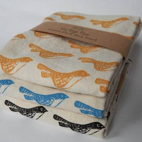The High Fiber Hand Printed Cotton Towel - Yellow Bird