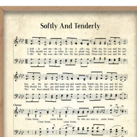 Softly and Tenderly 8 X 10 Print