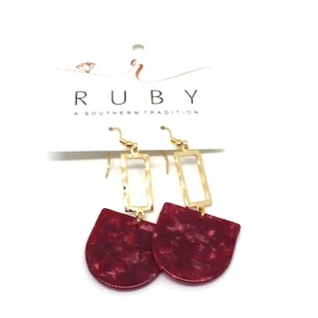 Gold and Burgundy Lucite Earrings