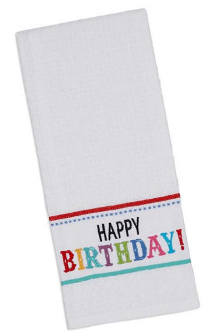 Happy Birthday Embroidered Tea Towels