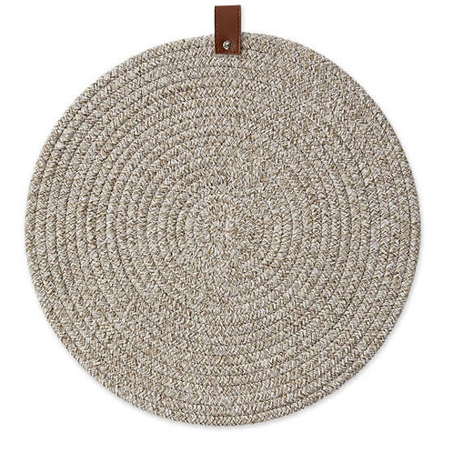 Earth Tan Round Placemat with Leather Tag