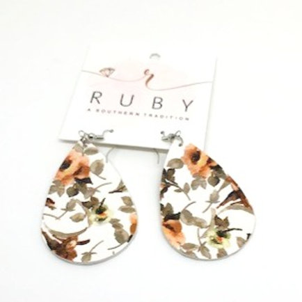 Floral Double Sided Leather Earrings