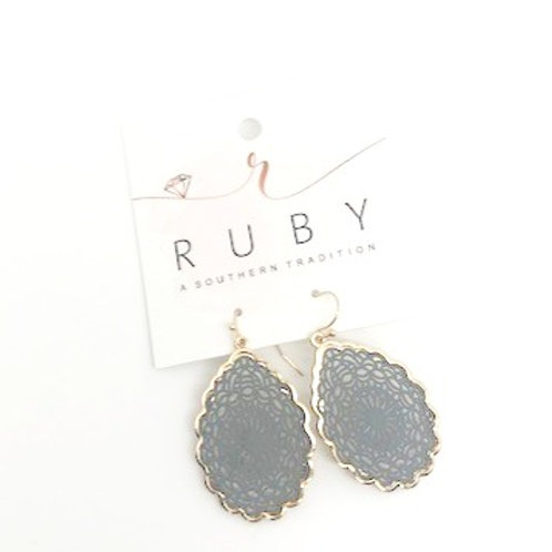 Earrings - Gold and Slate gray