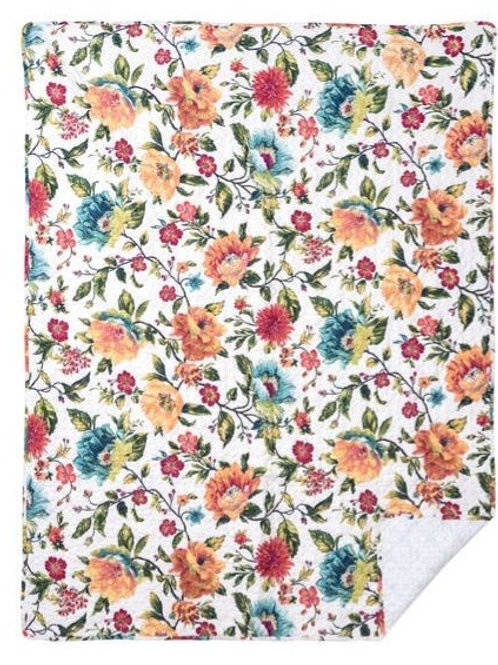 Floral Cotton Quilted Throw