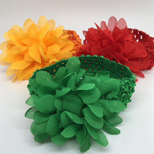 Organza Flower baby headbands 3 pk