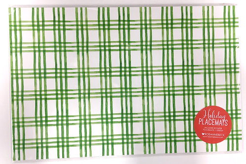 Green and white Plaid Paper placemats