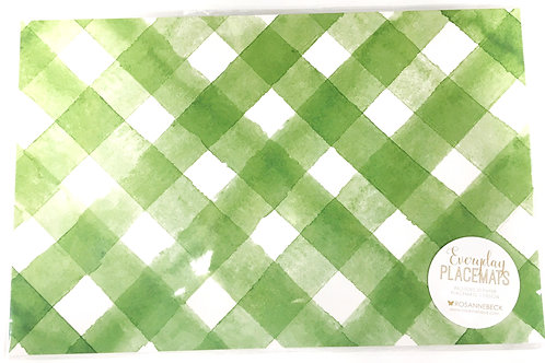 Green and White lattice paper placemats