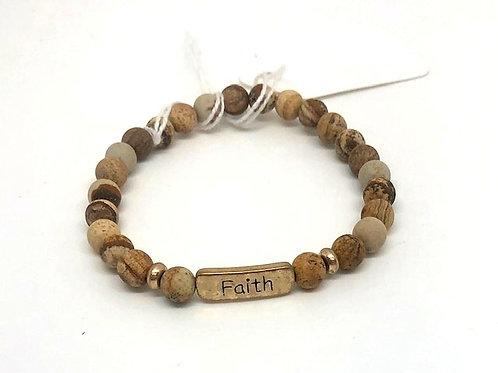 Natural Stone Faith Bracelet