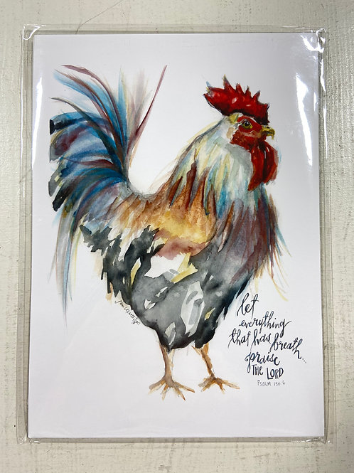 Rooster Psalm Print