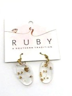 Gold Speckled Lucite Earrings