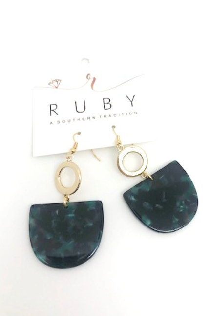 Gold/Green Earring