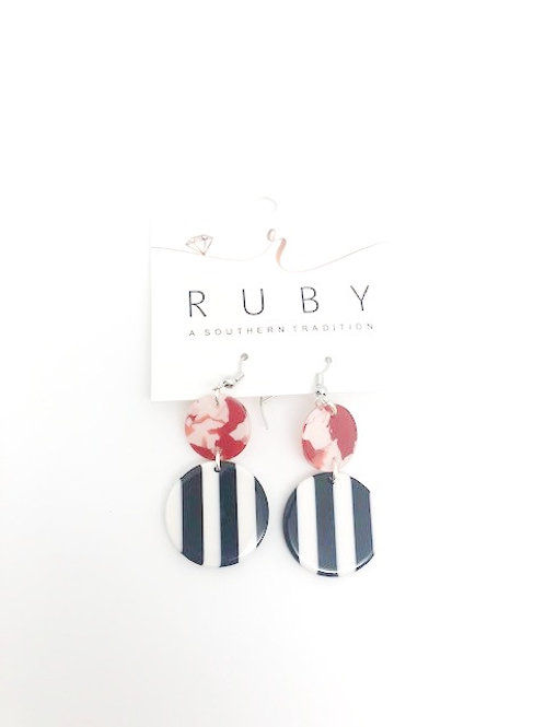 Acrylic Red/Black Stripped earring