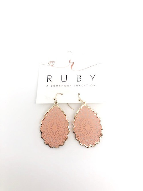 Gold and Peach Earring