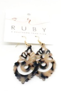 Brown and Tan Lucite Earrings