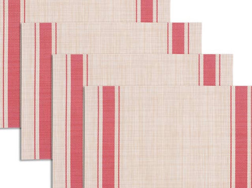 Farmhouse Stripe Textaline Placemat Red