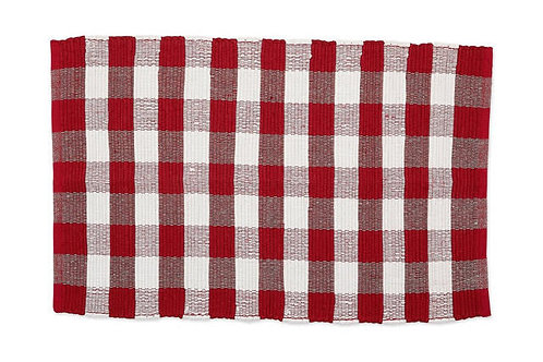 Red and White Buffalo Checked Chindi Rug