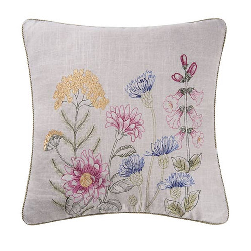 """18"""" X 18"""" Floral Garden Embroidered Pillow"""