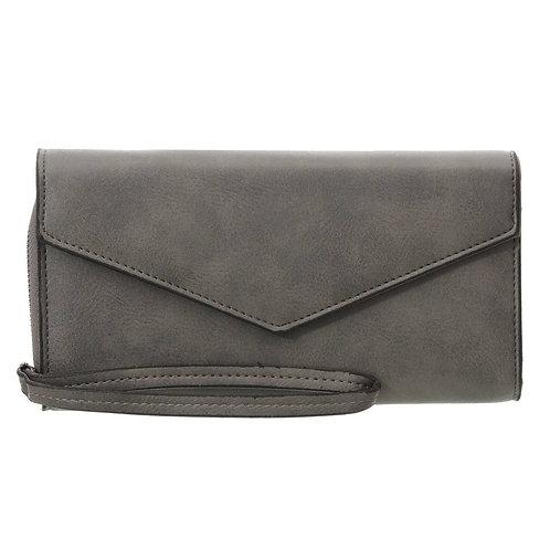 Grey Leather Wristlet Wallet