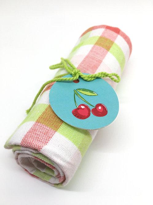 Pink and Green Tea Towel
