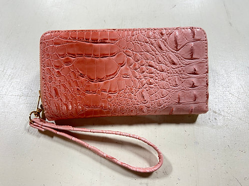 Pink Alligator Leather Wallet