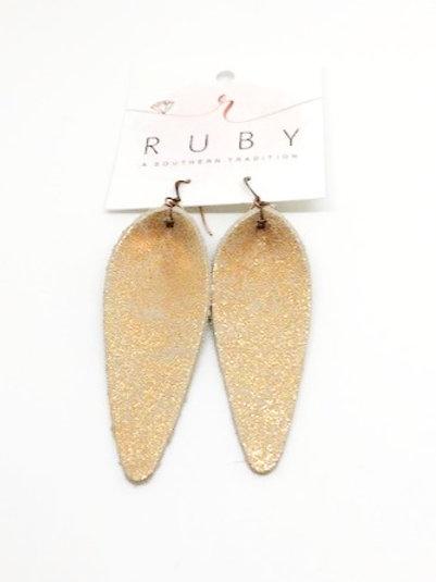Gold Glitter Leather Earrings