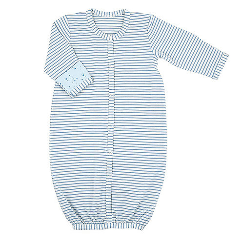 Blue Stripe Newborn Gown