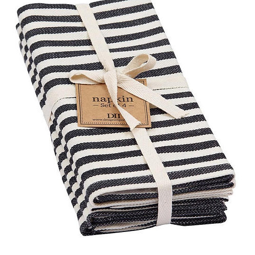 Black and White Striped Napkins Set of 4