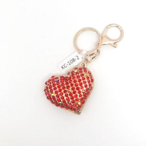 Rine stone Heart Key chain - red