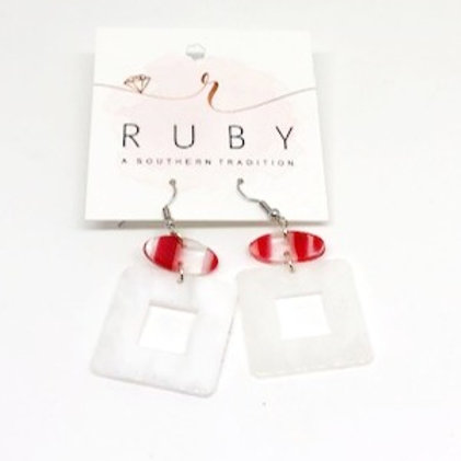 Read and White Lucite Earrings