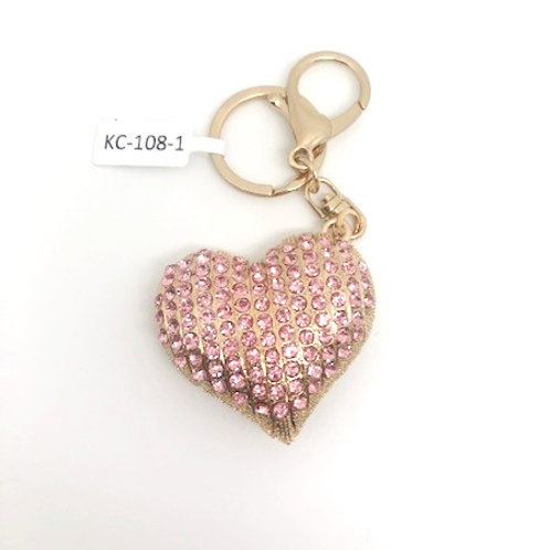 Rinestone Heart Key Chain - pink