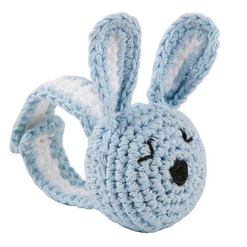 Blue Bunny Crochet Wristlet