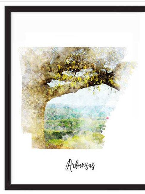 Arkansas Watercolor Print 8 X 10