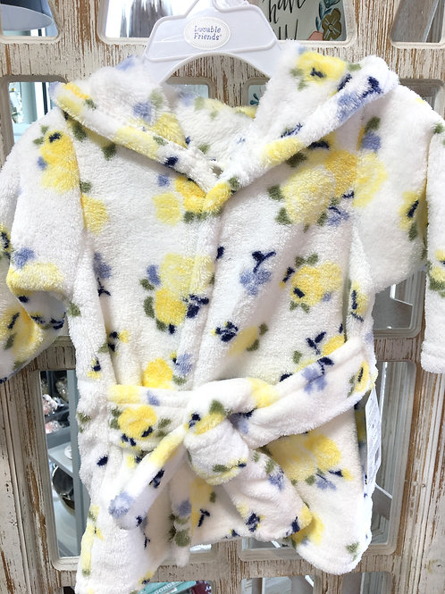 Blue and Yellow rose baby robe