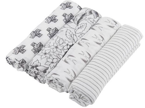 Black, White, and Gray Swaddle Pack