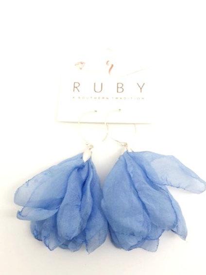 Blue Organza Earring