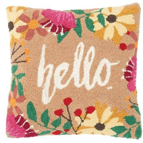 Hello Hooked 18 X 18 Pillow