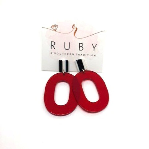 Red and White Lucite Earrings