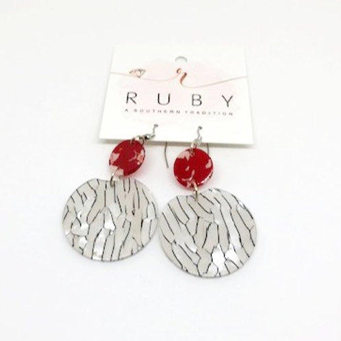 Red, White, and Black Lucite Earrings