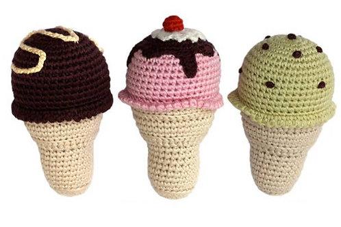 Ice Cream Cone baby rattle set of 3