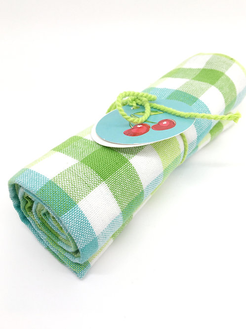 Green and Plaid Tea Towel