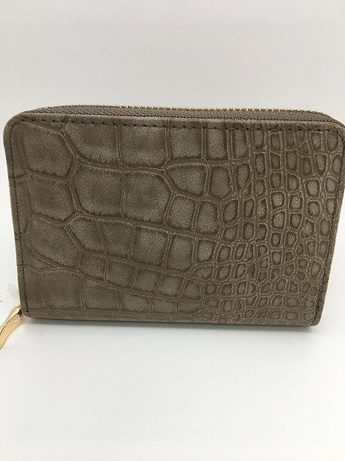 Dark Tan Faux Alligator Wallet