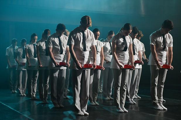Scottish Ballet dancers on set for Tremb