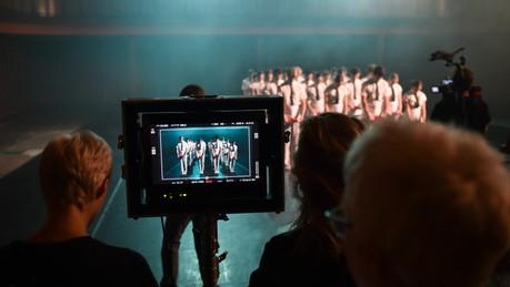 Scottish Ballet dancers on set for Tremble