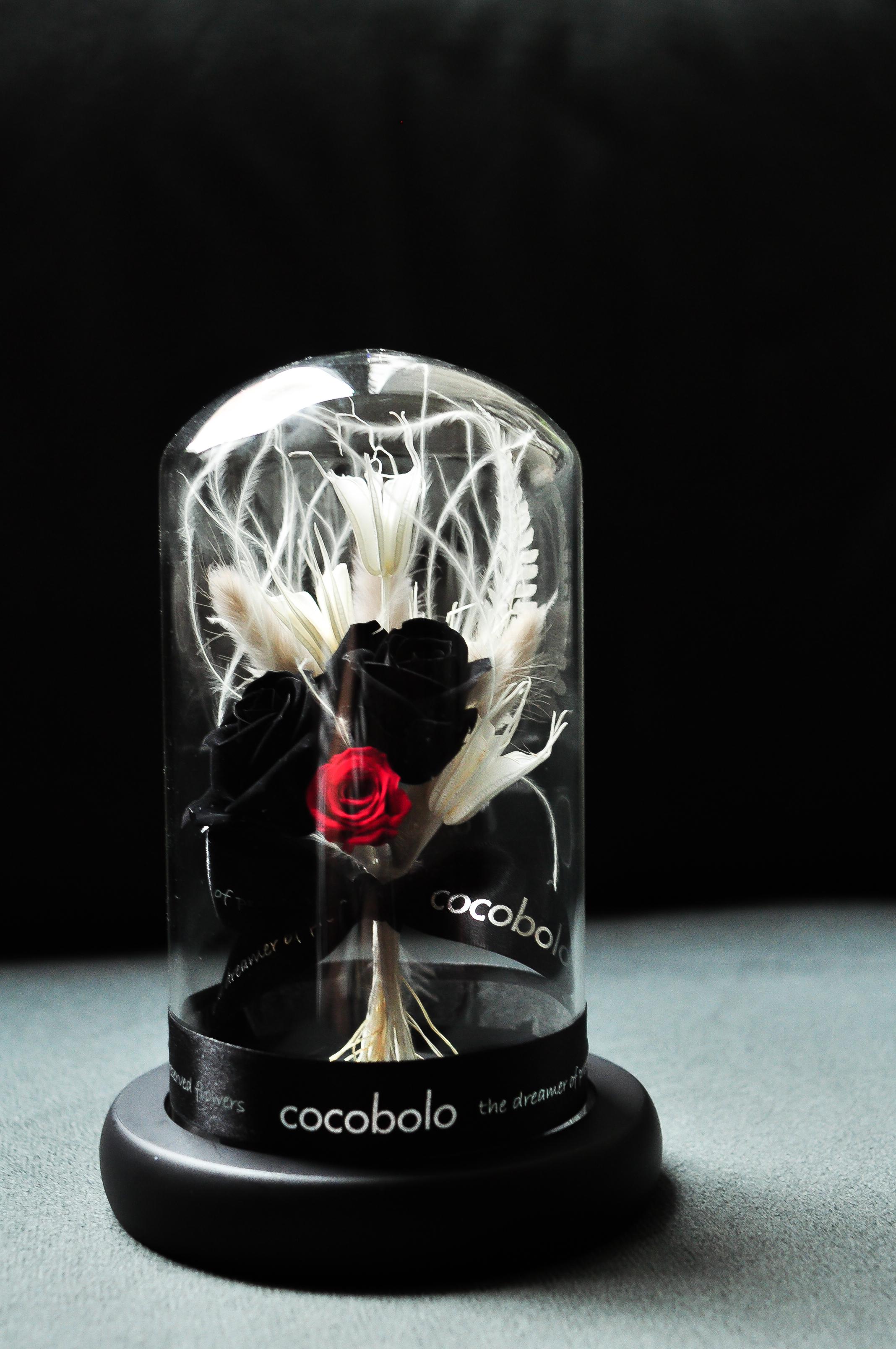 20170115 黑紅玫瑰圓形玻璃花禮-3