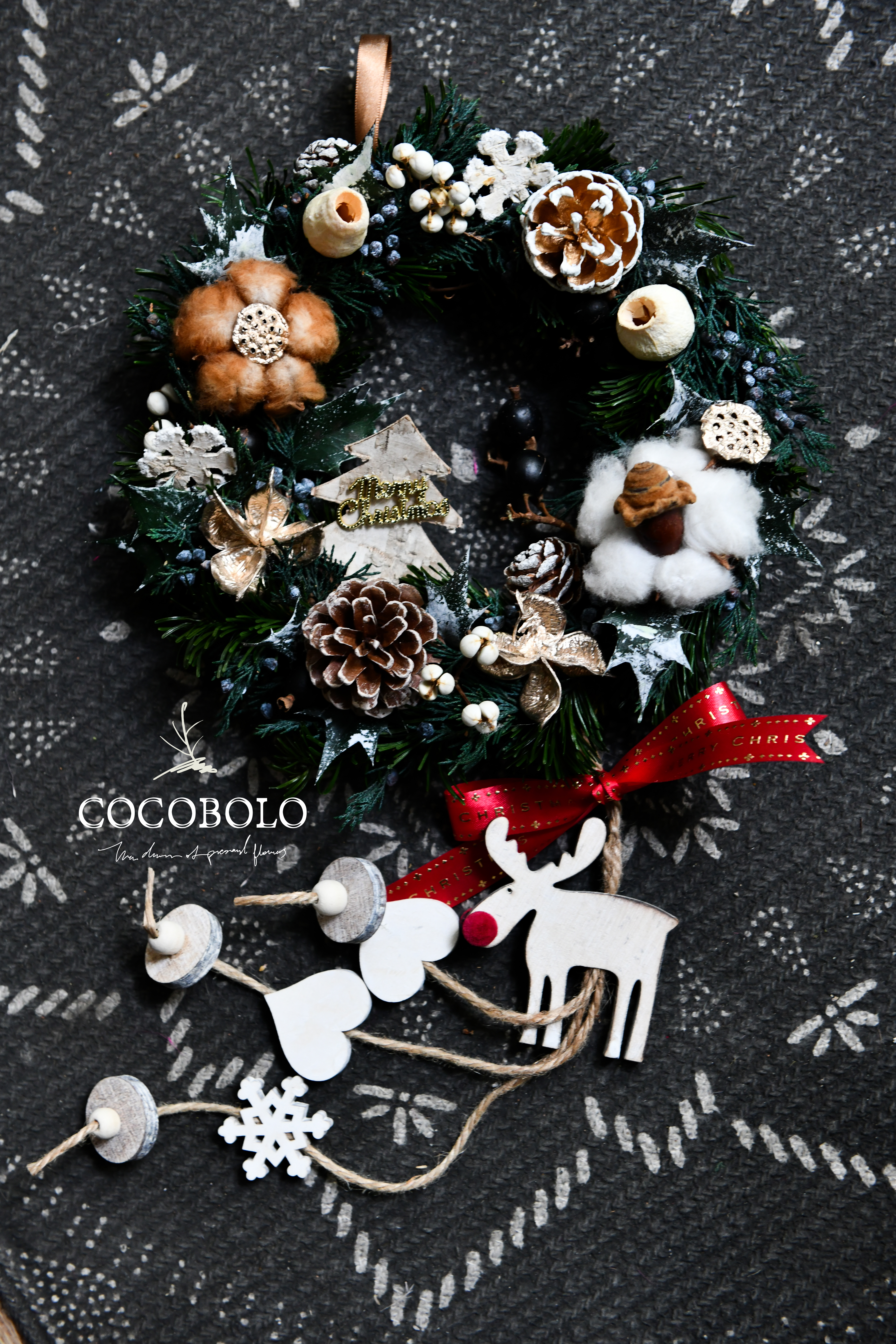 20181003 聖誕節麋鹿花圈-1
