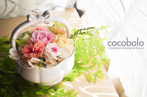 FINE BONE CHINA FLOWER BASKET │高級骨瓷提籃花禮