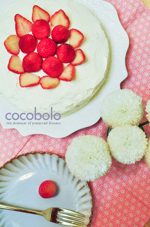 Handmade white cake with fresh strawberries