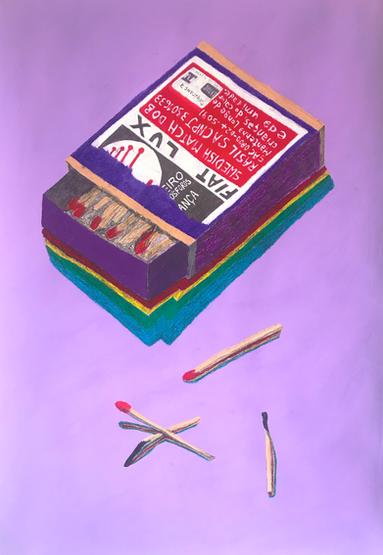 """Caixa de fosforos"" Guache, giz pastel oleoso e lapis grafite sobre papel paraná 2019"